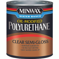 Minwax 63020 Clear Semi Gloss Polyurethane Quart Water Based Oil Modified