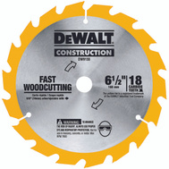DeWalt DW9155 6-1/2 Inch 18 Tooth Atb Fast Wood Cutting Carbide Saw Blade With 5/8 Inch Arbor