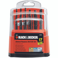 Black & Decker 15097 17 Piece High Speed Steel Drill Bit Set 1/16 Through 3/8 Inch