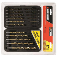 Black & Decker 15573 S 17 Piece Split Point Titanium Drill Bit Set