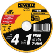 DeWalt DW8062B5 Wheel Cut Thin Mtl 4-1/2X7/8In 5 Pack