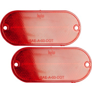 Hy Ko CORB-7R 4-3/8 Inch Red Oval Self Adhesive Press On Reflectors (Pack Of 2)