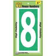 Hy Ko 928 5 Inch Reflective High Visibility House Number 8