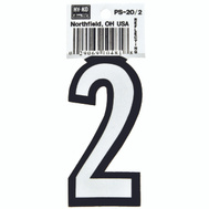 Hy Ko PS-20/2 PS 20 Series 3-1/4 Inch Bend And Peel Reflective Vinyl House Number 2