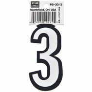 Hy Ko PS-20/3 PS 20 Series 3-1/4 Inch Bend And Peel Reflective Vinyl House Number 3