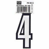 Hy Ko PS-20/4 PS 20 Series 3-1/4 Inch Bend And Peel Reflective Vinyl House Number 4