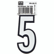 Hy Ko PS-20/5 PS 20 Series 3-1/4 Inch Bend And Peel Reflective Vinyl House Number 5