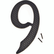 Hy Ko DC-5/9 4-1/2 Inch Black Hammered Aluminum House Number 9