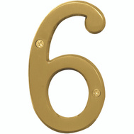 Hy Ko BR-43BB/6 Prestige Series 4 Inch Prestige Brushed Brass House Number 6