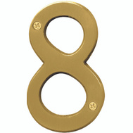 Hy Ko BR-43BB/8 Prestige Series 4 Inch Prestige Brushed Brass House Number 8