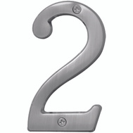 Hy Ko BR-43SN/2 Prestige Series 4 Inch Prestige Satin Nickel House Number 2