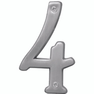 Hy Ko BR-43SN/4 Prestige Series 4 Inch Prestige Satin Nickel House Number 4