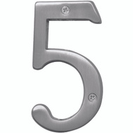 Hy Ko BR-43SN/5 Prestige Series 4 Inch Prestige Satin Nickel House Number 5