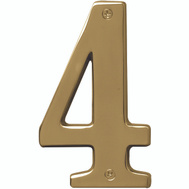 Hy Ko BR-51PB/4 Prestige Series 5 Inch Prestige Polished Brass House Number 4