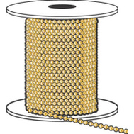 Hy Ko KBC198BR Brass Beaded Chain #6 100 Foot