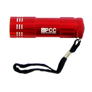 Trans USA PCC36347RD Polybag PCC 9 LED Red Aluminum Flashlight W/3 AAA Batteries