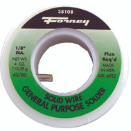 Forney 38108 Solid Wire 40 Tin 60 Lead Solder 1/8 Inch 1/4 Pound