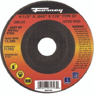 Forney 71793 4.5 Inch Type 27 Cut Wheel