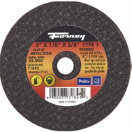 Forney 71843 3 By 1/8 By 3/8 Inch Aluminum Oxide Metal Cutting Wheel