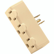 Cooper Wiring BP1147V 3 Outlet 3 Wire Grounded Adapter Ivory