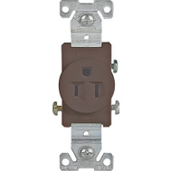 Cooper Wiring 817B-BOX 15 Amp 3 Wire Grounded Receptacle Brown