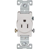 Cooper Wiring 817W-BOX 15 Amp 125 Volt Single Receptacle White