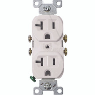 Cooper Wiring 877W-BOX 20 Amp 3 Wire Grounded Duplex Receptical White