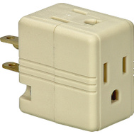 Cooper Wiring 1482V-BOX 3 Outlet 3 Wire Grounded Cube Tap Ivory