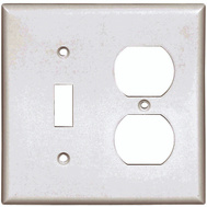Cooper Wiring 2138W-BOX 2 Gang Standard Toggle And Duplex Wall Plate White