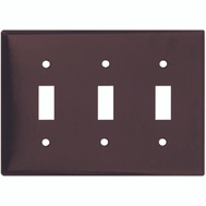 Cooper Wiring 2141B-BOX 3 Gang Standard 3 Toggle Wall Plate Brown