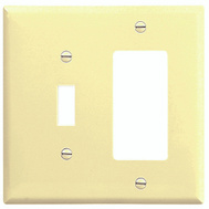 Cooper Wiring 2153V-BOX Combination Wall Plate 2 Gang Ivory