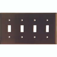 Cooper Wiring 2154B-BOX 4 Gang Standard 4 Toggle Wall Plate Brown