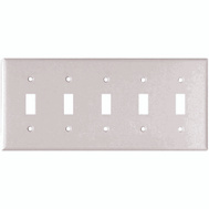 Cooper Wiring 2155W-BOX 5 Gang 5 Toggle Switch Wall Plate White