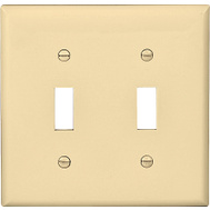 Cooper Wiring 5139V 2 Gang Nylon 2 Toggle Plate Ivory