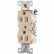 Cooper Wiring CR15V Ivory Straight Blade Duplex Receptacle 2 Pole 3 Wire 15A