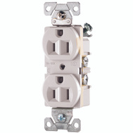 Cooper Wiring CR15W White Straight Blade Duplex Receptacle 2 Pole 3 Wire 15A