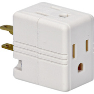 Cooper Wiring 1482W-BOX Outlet Cube Tap/Adapter 125 Volt 15 Amp 3 Outlet Grounded White