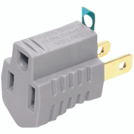 Cooper Wiring BP419GY/15 Adapter W/Ground Gray 2Pk
