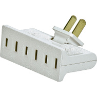 Cooper Wiring BP1792W-SP Non-Grounding Swivel Outlet Adapter 125 Volt 3 Outlet 2 Wire White Plastic