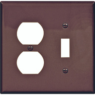 Cooper Wiring PJ18B 2 Gang Toggle And Receptacle Plate Brown