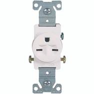 Cooper Wiring 816W-BOX Receptacle Wht 2Pole 15A 250V
