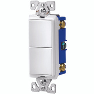 Cooper Wiring 7728W-SP Decorator Duplex 2 Single Pole Combination Switches 120/277 VAC 15 Amp White
