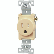 Cooper Wiring TR817V-BOX Tamper Resistant NEMA 5-15R Single Receptacle 15A Ivory