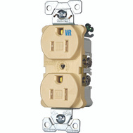 Cooper Wiring TWRBR15V Tamper And Weather Resistant Commercial Grade Duplex Receptacle 15A Ivory