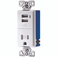 Cooper Wiring TR7740W-K-L Combination Dual USB Charger With A Tamper Resistant Receptacle White