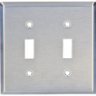 Cooper Wiring 93072-BOX 2 Gang Toggle Wall Plate Stainless Steel
