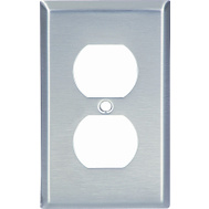 Cooper Wiring 93101-BOX1 1 Gang Duplex Receptacle Wall Plate Stainless Steel