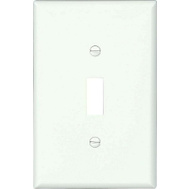 Cooper Wiring PJ1W-CP-L 1 Gang Toggle Mid Size Wallplate White Pack Of 10