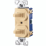 Cooper Wiring 275V-BOX 3 Way And Single Toggle Duplex Switch Wall Plate Ivory