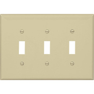 Cooper Wiring PJ3V 3 Gang 3 Toggle Wall Plate Ivory
